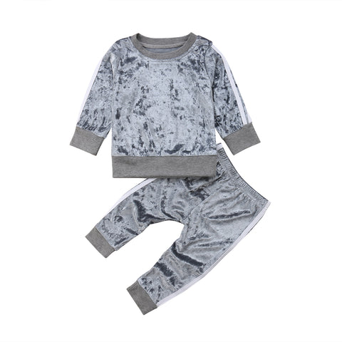 6M-5Y Toddler Infant Kids Boy Girl Autumn Spring Velvet Long Sleeve Tops Sweatshirt Pants Tracksuit Baby Clothes Outfit 2Pcs Set