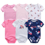 6PCS Brand Baby Bodysuits Cotton Baby Girls Boy Clothing Short Sleeves O-Neck Newborn Baby Clothes Summer Baby Dresse