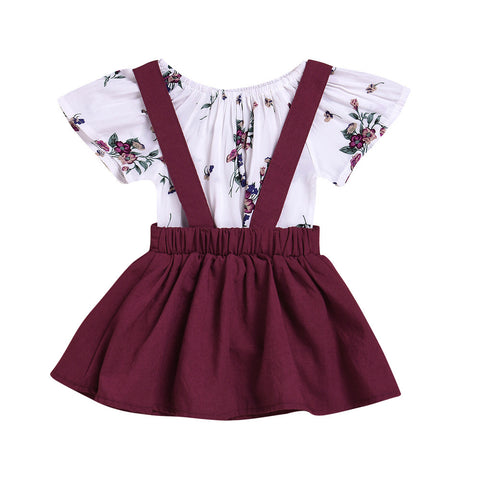 ARLONEET 2Pcs Infant Baby Girls Floral Print Rompers Jumpsuit Strap Outfits Set Sleeve Cute Suit Jan10