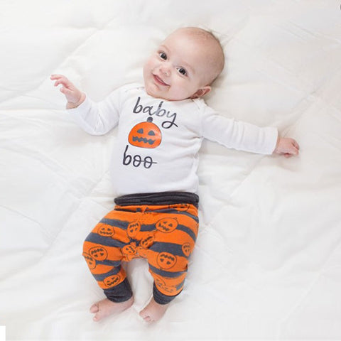 White Newborn Infant Baby Girl Boy Print O-Neck Full Pumpkin Top+Pants+Hat Halloween Clothes Sep20