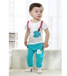 Free shipping summer new short-sleeved suits cute little fish baby clothing sets baby boy summer clothes sets