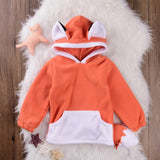 Autumn Cute Baby Kids Toddlers small Fox Tops Clothes Hoodie Fleece Coat with Tail