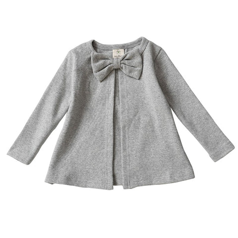 Autumn Knitted Round Neck Button Leisure Cardigan Jacket Coat Baby Pure Cotton Bow Tow Decoration Baby Boys Girls j2