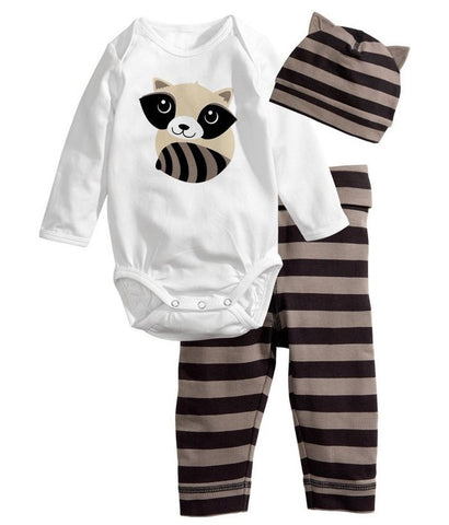 Autumn Winter Cute Newborn Baby Boys Girls Clothes Cotton Tops Long Sleeve Romper Pants H Outfits Set 3pcs Baby Clothing Set
