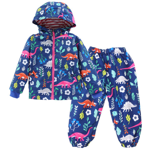 Autumn&Winter Girls Boy's Clothing Set Childrens Raincoat Jacket Sport Suit Clothes Windbreaker Jackets+trousers 2pcs Suit