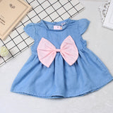 Baby Girls Dress Summer Clothes Cotton Bowknot Fashion Cute Mini Denim Infant Newborn Girls Dresses
