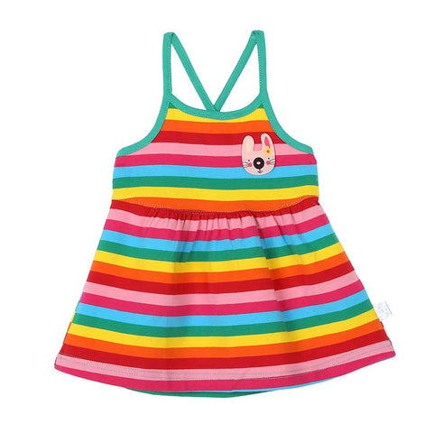 Summer Newborns Rainbow Striped Dress Baby Girls Sleeveless Princess Dress 0-18M