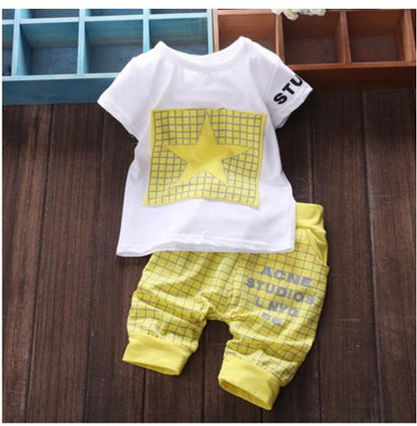 60e74b578759 Baby Boy Clothes Summer Newborn baby girl clothes Set Cotton Casual Short  Sleeve T-shirt+Cross Pants 2pcs Infant Clothes Set