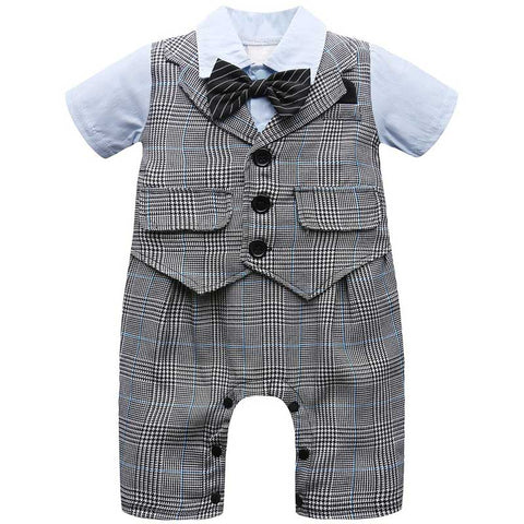 Baby Boy Gentleman Romper Short Sleeve with Bow Tie Suit Set Infant Toddler Vest Party Jumpsuit Stripe with Hat Cute Wedding