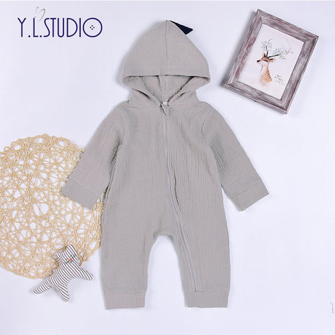 Baby Boy Girl Cotton Romper Long Sleeve with Hood 3D Dinosaur Jumpsuit Warm Spring Autumn Playsuit Clothes Costume Newborn Baby