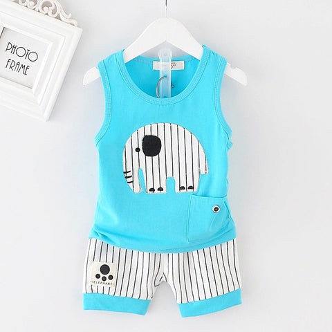 Baby Boy Summer Clothes 2018 Korean Cute Striped Elephant Sleeveless Vest + Shorts 2PCS Infant Clothing Kids Bebes Jogging Suits