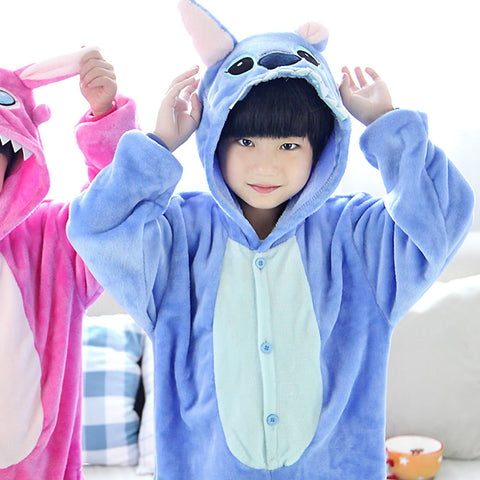 Baby Boys Girls Cartoon Winter Autumn Children Pajamas Flannel Stitch Animal Pajamas Kid Pajama Sets Onesies Children Clothing