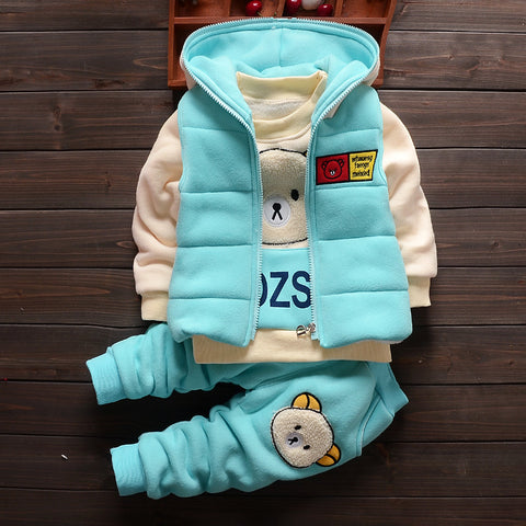 Baby Boys Girls Christmas Autumn Warm WaistCoat + Sweatshirt + Pants 3Pcs Infant Kids Children Sports Suit Toddler Clothes W168