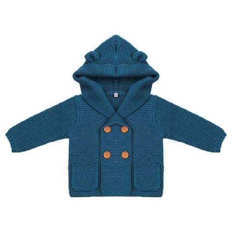 Baby Clothes Boys Girls Knitting Cardigan Winter Solid Warm Toddler Sweaters Fashion Long Sleeve Infant Kids Hooded Child Coats