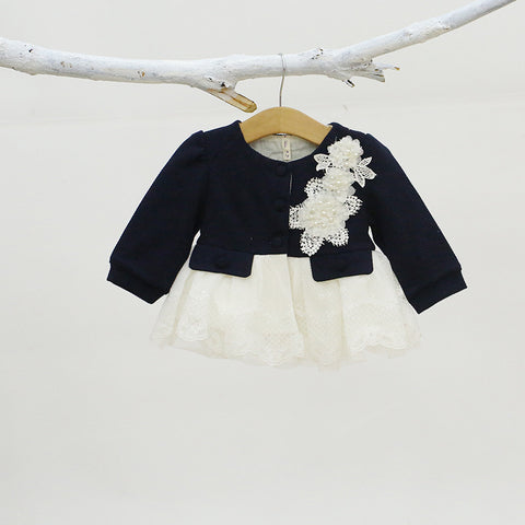 Baby Coat Blue Toddler Girl Cardigan Ruffle Lace Hem Fluffy Princess Girl Clothes A014 Winter Outerwear With Flower Brooch Cute