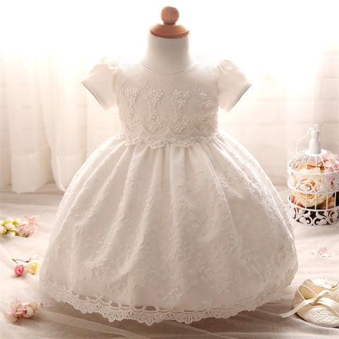 69e40775378 Baby Frock Design Toddler Girl Lace Christening Gown White Tulle Infant  Princess Baptism Dress Baby Girls 1st Birthday Outfits