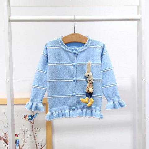 Baby Girl Cardigan Pink Toddler Girl Knit Sweater Cute Bunny Jacket Kids Winter Clothes A014 Crochet Coat Tops Baby Outerwear