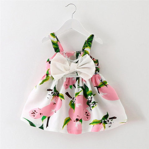 Baby Girl Clothes Bowknot Lemon Printed Infant Outfit Sleeveless Princess Gallus Dress 2018 New Summer Dress Girls Vestidos MM3
