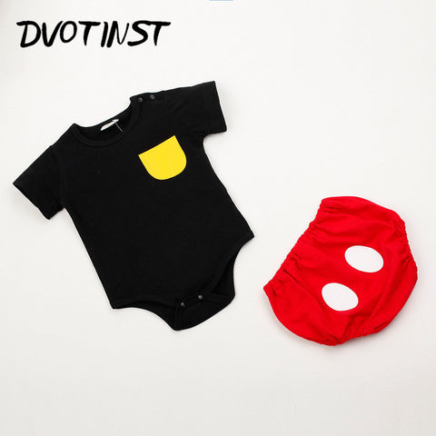 Baby Girl Clothes Summer Short Sleeves Mickey Bodysuit+Shorts 2pcs Set Jumpsuit Outfit Infant Children Toddler Clothing Costume