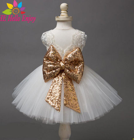 Baby Girl Dresses Christening Gown 2018 Infant Dress Lace Bow Sequins Princess 1st Birthday Dress Toddler Baby Girl Clothes