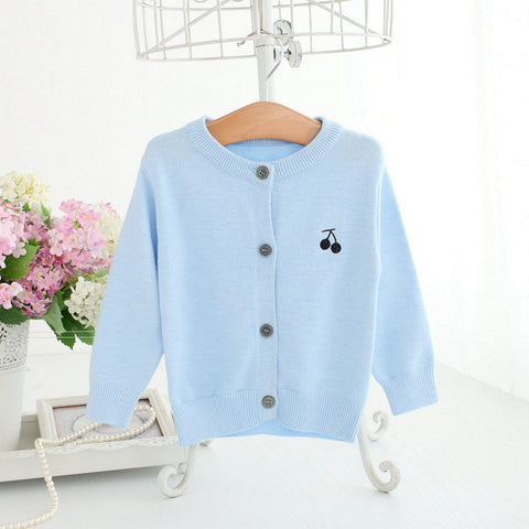 Baby Girl Sweater Blue Toddler Girl Knit Cardigan Cherry Embroidered Jacket Winter Clothes Warm Coat A014 Baby Girls Outerwear