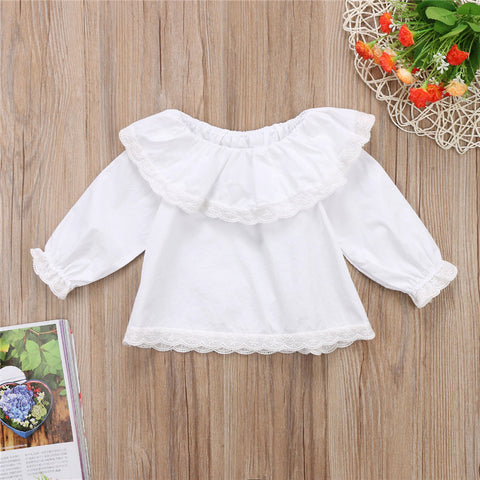 Baby Girls White Lace T-shirt Newborn Long Sleeve Off Shoulder Tops Tee 2018 New Year's T-shirt For Girls Hot Baby Girl Clothing
