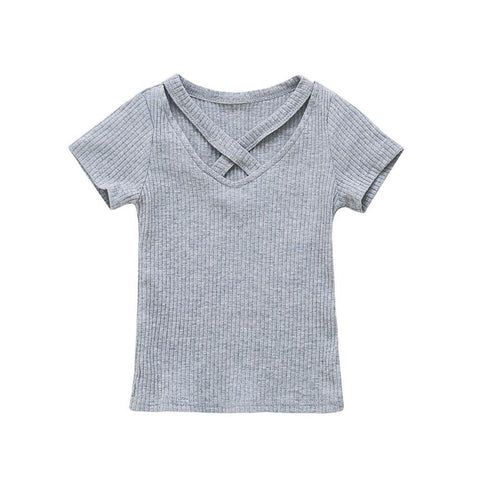 Baby Girls clothes fashion T-Shirt Soft Short Sleeve tees summer Solid Toddler Kids Tops T-shirts for girls Clothes 2018