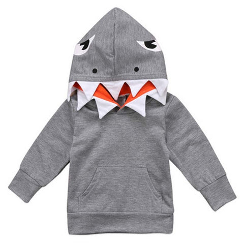 Baby Hoodies Kids Shark Pattern Tops Girl Boy Hooded Sweatshirts Infant Long Sleeve Coat Casual Style Outerwear Clothes