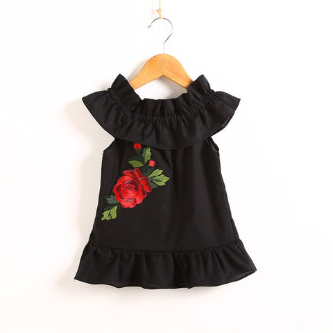Baby Kid Girls Cute Embroidery Dress Toddler Princess Party Off Shoulder Floral Summer Sleeveless Dress Casual Sundress Clothing