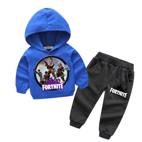 Baby Outfits Boy Sport Suits Girls Fortnite Pattern Design Hoodies Pants Suits For Kids Clothing Sets Children Tracksuit YK005