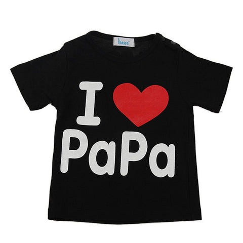 Baby T-Shirt Baby Girl Clothes Summer Short Sleeve I Love Mama & Papa Family T-shirt Tops Lucky Child Love Cotton Tee Shirt