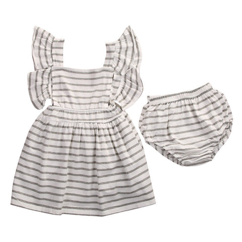 Baby Toddler Infantil Kids Girl Bowknot Striped Princess Dress Wedding Party Casual A-Line Mini Dresses