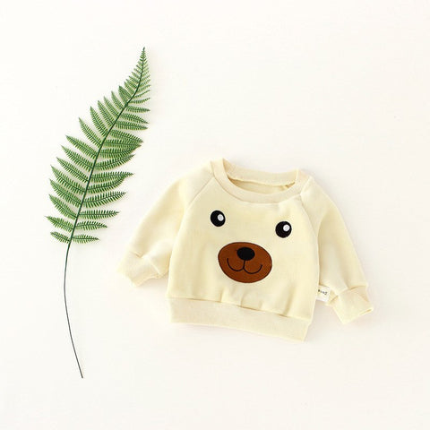 Baby Warm Winter Clothing Newborn Girls Boys Embroider Bear Pullover Tops Kid Long Sleeve Brushed Sweatshirts Outwear Tops A794