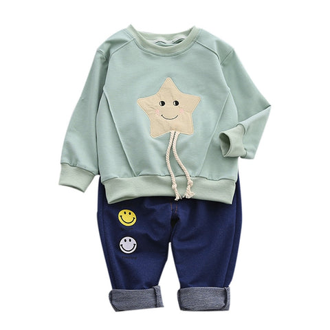 Baby boy Girls clothes set 2pcs T shirt + pants newborn clothes Smiling star clothing Boy costume Designer for children #YY