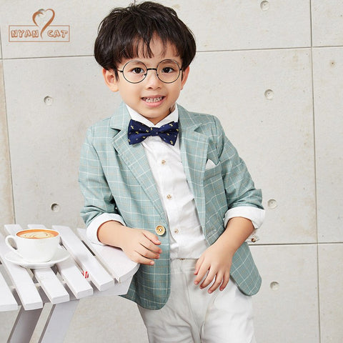 Baby boy clothes autumn children evening dress suit flower boy wedding suit piano host performs boys plaid clothing set