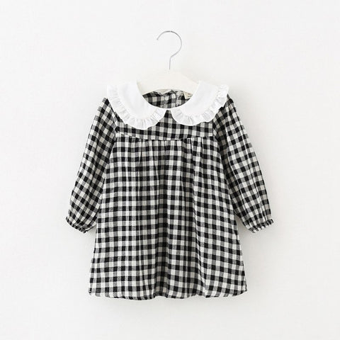 Baby clothes plaid casual newborns infant costumes 1st birthday party dress a-line cotton clothing baby girls princess dresses