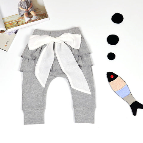 Baby girls pants Baby Leggings White Chiffon big bow Newborn pants 0-2 years Spring Autumn Baby clothing Gray & Pink Trousers