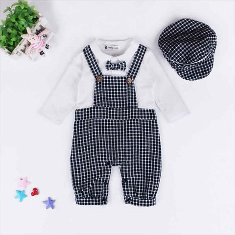 Baby's Set Baby Boy Bodysuit Plaid Overall Design Long Sleeve Fall Boy Clothes 2pcs Boy Clothing Outfit with Hat