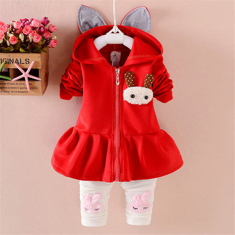 2018 baby girls clothes sets spring hooded coat + pants sets infant bebe clothing suit cartoon toddler girls tracksuit