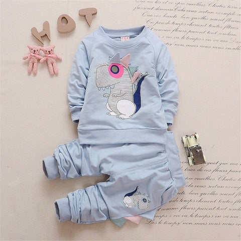 Sports suit boy girl autumn childrens sweatshirts clothing sets toddler sportswear kids cartoon clothes outfits