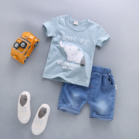 Summer Baby Boy Clothes Sets Newborn Baby Cotton T-shirt Tops +Shorts 2PCS Outfit Tracksuit Toddler Kids Clothing Set