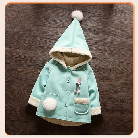 BibiCola baby girls spring autumn coat newborn baby warm fur hoodies toddler cute jacket for baby girls infant spring clothes