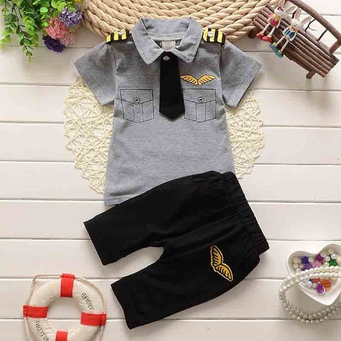 boys pilot clothes new summer Boys Clothing Set Kids cute Clothes Pullover Suit Casual tshirt + shorts for boys