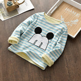 infant warm velvet outfits clothing coat pattern printed Sweatshirts Fawn pattern Casual Kids Plus toddler thick Tops