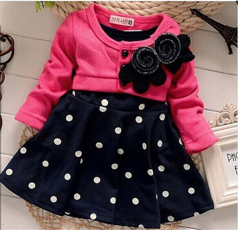 new fashion Baby girl christmas dresses clothes Kids Children's Lovely princess Two Tones Splicing Polka Dots Dress