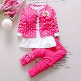 BibiCola newborn autumn wave point clothing set baby girls cute cotton red  3 pieces casual clothes suit for childern sweatshirt