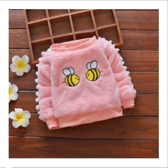 winter sweater baby girls sweaters cotton fashion outerwear toddler cartoon bee plus velvet warm clothing for baby girl