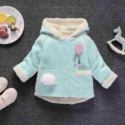 Bibicola baby girls coats winter fashion toddler warm fur lovely hoodies for girls infant thicken outerwear baby girls clothing