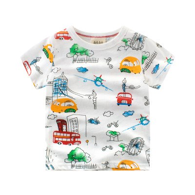 Boy Shirt 2018 New Summer C Print Short Sleeve Top Tee for Kids Toddler Clothes Children Tshirts 100% Cotton 2-10 Year
