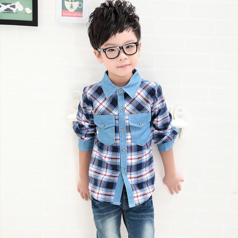 Boys Blouses Long Sleeve Plaid Shirts Red Green For Boys Children Clot –  ToysZoom